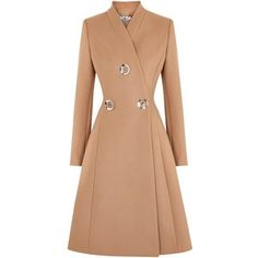 Womens Long Coats Stella McCartney Camel Flared Wool Coat