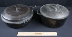 CAST IRON LOT INCLUDES A LODGE 10.25 INCH COVERED CASSEROLE POT AND A WAGNER WARE SIDNEY O 1089 HIGH WALL SKILLET WITH LID.
