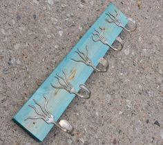 Go Turquoise Stained 5 Funky Forks Coat Rack OH YEAH by jjevensen, $60.00