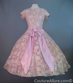 1950s cream lace with pink lining dress, perfect for a wedding or prom!
