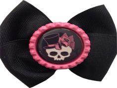 Top Hat Skull bow by RebelBowz on Etsy
