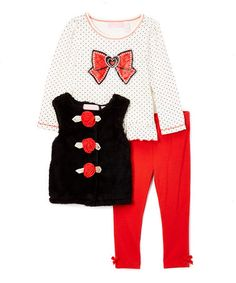 Look at this #zulilyfind! White & Red Ribbon Top Set - Infant, Toddler &…