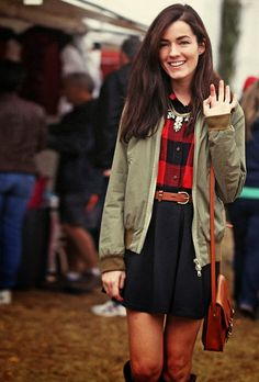 Sarah Vickers of Classy Girls Wear Pearls wears a MADEWELL shirt and belt, TOPSHOP skirt, LOREN HOPE necklace, and GANT jacket.