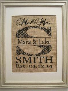 Burlap Monogram, Burlap Print, Burlap Art, Save the Date, Mr Mrs Burlap, Wedding Date on Burlap In Frame,Patterned Initial Est. Date