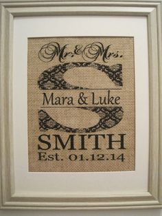 Burlap Monogram, Burlap Print, Burlap Art, Save the Date, Mr Mrs Burlap, Wedding Date on Burlap In Frame,Patterned Initial Est. Date