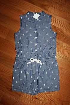 17dd1abbbfdd Jumpsuits and Rompers 175528  Nwt Gymboree Stripes And Anchor Size 7  Chambray Anchor Romper Shortall -  BUY IT NOW ONLY   39.13 on eBay!