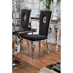 Krzesło tapicerowane stal nowoczesne glamour do jadalni czarne VITO