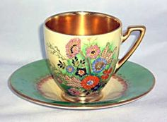 Summer flowers meoln coffee cup and saucer.