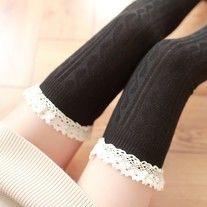 USD12.75-Crochet lace knee high stockings  #crochet #lace #lolita #kawaii #cosplay #anime #kneehigh #stockings #black #cute