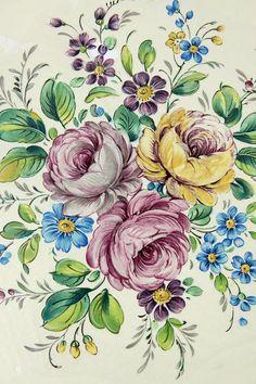 Vintage Home - Vintage Italian Floral Wooden Waste Bin .