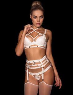 Shibari Ivory Thong Suspender Set - Lingerie Set - Honey Birdette Australia