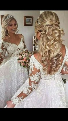 """Is """"poof"""" too big? Is """"poof"""" too big? Related Post 15 Elegant updo wedding hairstyles to inspire your. Love the neutral look with big lashes 18 Stylish Wedding Hairstyles to Brighten up Your . Wedding Hair Half, Elegant Wedding Hair, Wedding Hairstyles For Long Hair, Wedding Hair Pieces, Wedding Hair And Makeup, Down Hairstyles, Bridal Hairstyles, Wedding Updo, Wedding Bride"""