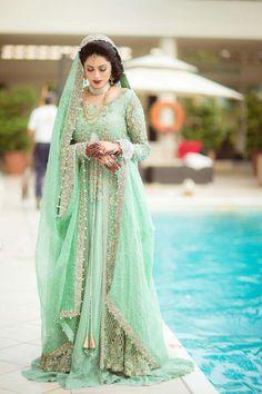 Image via We Heart It #awesome #beautiful #brides #dress #golden #green #lovely #pakistani
