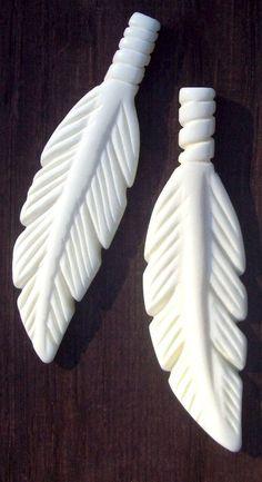 Feather pendant  white 2.5 elk bone feather by SerenityJewelry