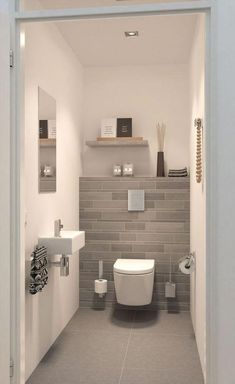 Space Saving Toilet Design for Small Bathroom In the event that you are one of the a huge number of individuals around the globe who needs to bear the claustrophobia of a little restroom, help is within reach. Modern Small Bathrooms, Modern Bathroom Design, Bathroom Interior Design, Amazing Bathrooms, Bathroom Designs, Bathroom Small, Bathroom Grey, Modern Toilet Design, Bathroom Mirrors