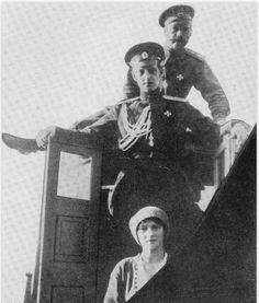 Tsar Nicholas II with his daughter Grand Duchess Tatiana Nikolaevna and his first cousin Grand Duke Dmitri Pavlovich.