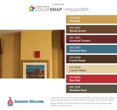 I found these colors with ColorSnap® Visualizer for iPhone by Sherwin-Williams: Alchemy (SW 6395), Sturdy Brown (SW 6097), Sundried Tomato (SW 7585), Santorini Blue (SW 7607), French Roast (SW 6069), Lucent Yellow (SW 6400), Real Red (SW 6868), Muddled Basil (SW 7745).
