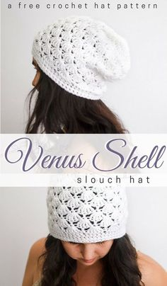 Stunning #crochet slouch hat pattern free to try right now! Love this for messy hair days! Venus Shell Slouch Hat Crochet Pattern - Free Crochet Beanie Pattern • Salty Pearl Crochet