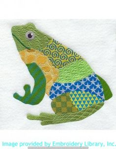 Stickmotiv Stickbild Aufnäher Stickerei Emblem Frosch  Frosch /  Stickerei Patchwork Frog (M1863)