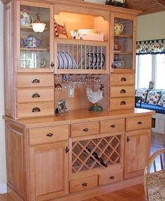 Hutch with Wine Rack Country Kitchen