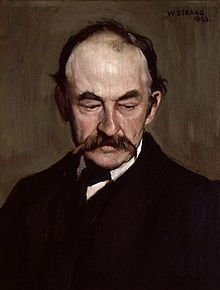 Snow in the Suburbs, last quatrain:  The steps are a blanched slope, / Up which, with feeble hope, / A black cat comes, wide-eyed and thin; / And we take him in.    Thomas Hardy (painted by William Strang, 1893) link for complete poem: http://writersalmanac.publicradio.org/index.php?date=2003/12/03