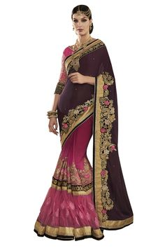 Buy Now Dark-Light Magenta Fancy Embroidery Georgette Net Frill Half-Half Wedding Wear Saree only at Lalgulal.com Price :- 4,472/- inr. To Order :- http://goo.gl/3Ut0NU COD & Free Shipping Available only in India