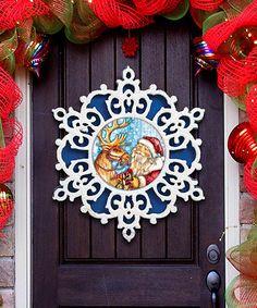 This Blue Snowflake Santa with Reindeer Door Hanger is perfect! #zulilyfinds  sc 1 st  Pinterest & Train Riding Santa Door Hanger | Train rides and Products
