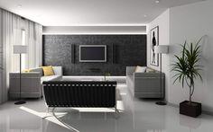 Akzentwand im Wohnzimmer-weiße Wände-florale Muster-Hintergrundbeleuchtung
