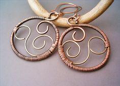 Wire Wrapped Earrings Brass and Copper - Handmade Copper Earrings - Copper Jewelry