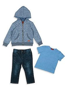 7 For All Mankind Baby's & Toddler Boy's Three-Piece Hoodie, Tee &
