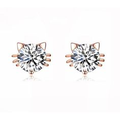 Birthday Gift 18k Gold Plated Austrian Swarovski Crystal Zircon Mini... ($3.61) ❤ liked on Polyvore featuring jewelry, earrings, earring jewelry, cat stud earrings, zircon stud earrings, cat jewelry and swarovski crystal earrings