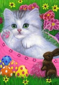 Cute Cats And Kittens, Kittens Cutest, Easter Cats, Happy Easter, Image Chat, White Cats, Vintage Cat, Cat Drawing, Beautiful Cats