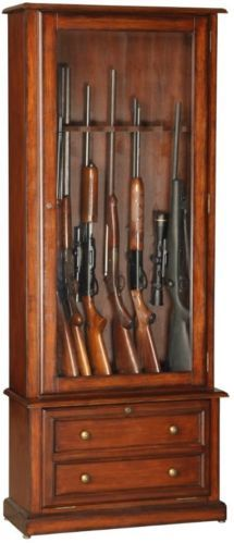 american furniture classics 8 gun cabinet wood rifle storage safe brown cherry