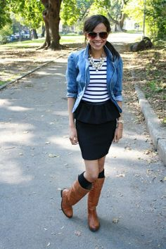 denim jacket peplum pencil skirt striped t-shirt tee knee socks boots statement necklace