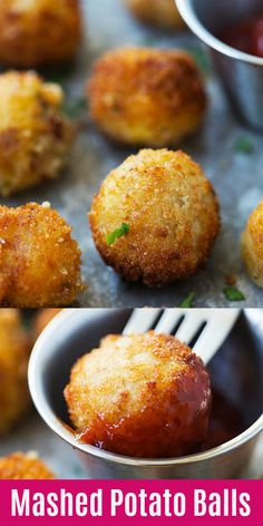 Mashed Potato Balls - the best recipe to use up leftover mashed potatoes. These crispy and cheesy potato balls are loaded with bacon bits Yummy Recipes, Spicy Recipes, Fish Recipes, Baby Food Recipes, Mexican Food Recipes, Cooking Recipes, Skillet Recipes, Cooking Gadgets, Pizza Recipes