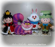 alice no país das maravilhas - kit 5 personagens feltro 25cm