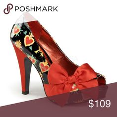 """Sacred Heart Bow Pin Up Shoes High Heels Black Sacred Heart Bow Pin Up Shoes High Heels Black 4 1/2"""" Heel Shoes Heels"""