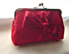 Red Bridal Clutch Purse  with a Red bow tie  by JuliaSherryDesigns, $65.00