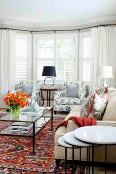 Family room with Persian rug.