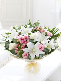 Spring rose lily and freesia hand tied interflora orchid lily and rose hand tied birthdays shop by occasion mightylinksfo