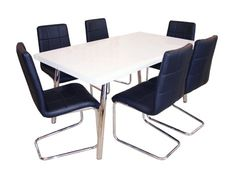 MG117DT+3037DC Modern Dining Table with Upholstered Dining Chair with Chrome Legs – Mandaue Foam
