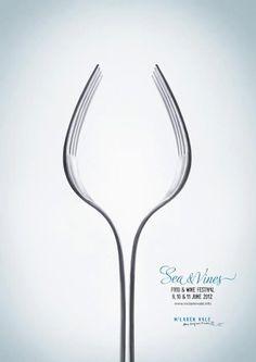 Otra curiosa campaña realizada con tenedores. Para el cartel de unas jornadas de degustación de vinos