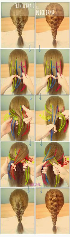 the difference between the french braid and the dutch braid