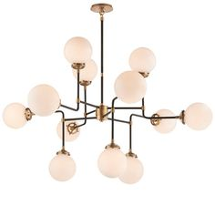 Mid-Century Parlor Chandelier This chandelier is incredibly stylish and architecturally inspired. Its airy frame maintains a refined look while the 12 globe-style lights provide ample lighting. Choose from Antique Brass with White glass or Polished Nickel with Clear glass. 12x40 watt