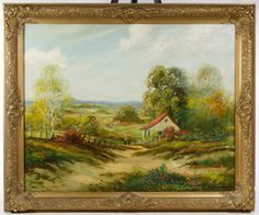 """Lot 787: F. Redman (American, 20th Century) """"Rolling Country Side"""" Oil on Canvas; Undated, signed lower right, depicting trees, fences, a red roofed home and two females in the center"""