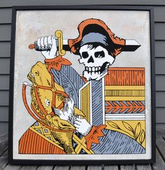 Live by the Sword, Die by the Sword modern folk pop art painting inspired by an antique vintage playing card. Horse and Pirate Skull Painted on wood and framed by Rob Johnston, Johnston America