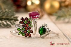 These dazzling holiday rings are sure to add the perfect amount of sparkle to your ensemble! || [Promotional Pin]