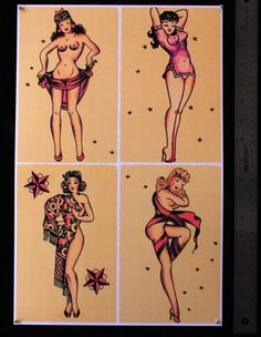 SJP055 Pin Up Girls 1 SHEET vintage Sailor Jerry Style Traditional Flash print