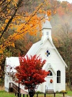 Quaint church in the woods. Old Country Churches, Old Churches, Beautiful Buildings, Beautiful Places, Church Pictures, Take Me To Church, Church Architecture, Cathedral Church, Church Building