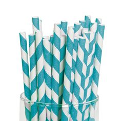 We just have to pic a color...Turquoise Striped Paper Straws - OrientalTrading.com